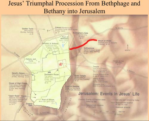 Map charting Jesus' Trimuphal Procession from Bethphage and Bethany into Jerusalem.