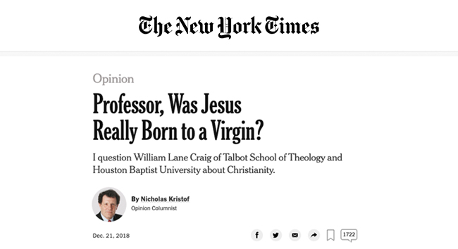 Dr Craig's Interview in the New York Times
