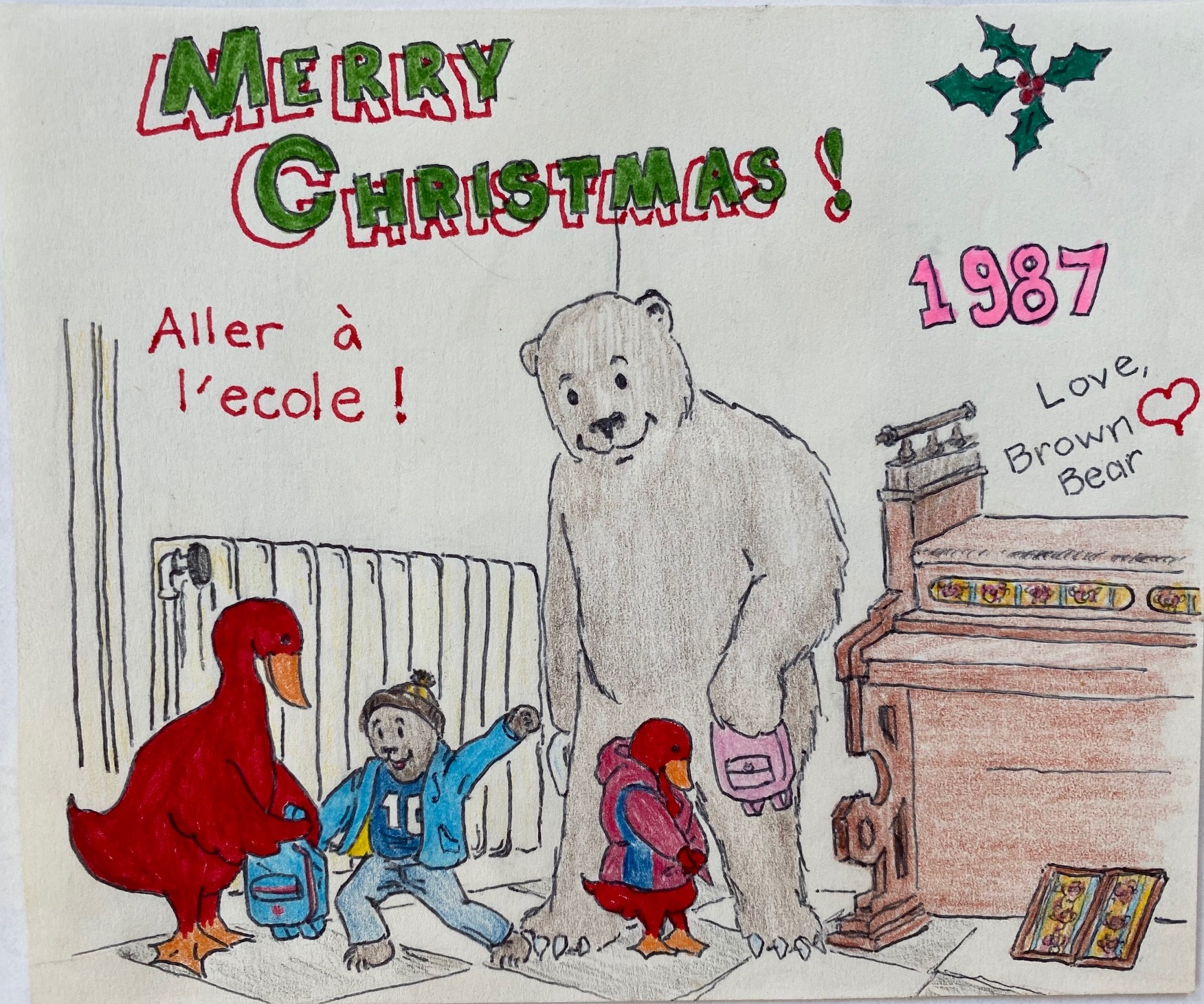 Christmas children's drawing of a bear and a goose sending their children to school